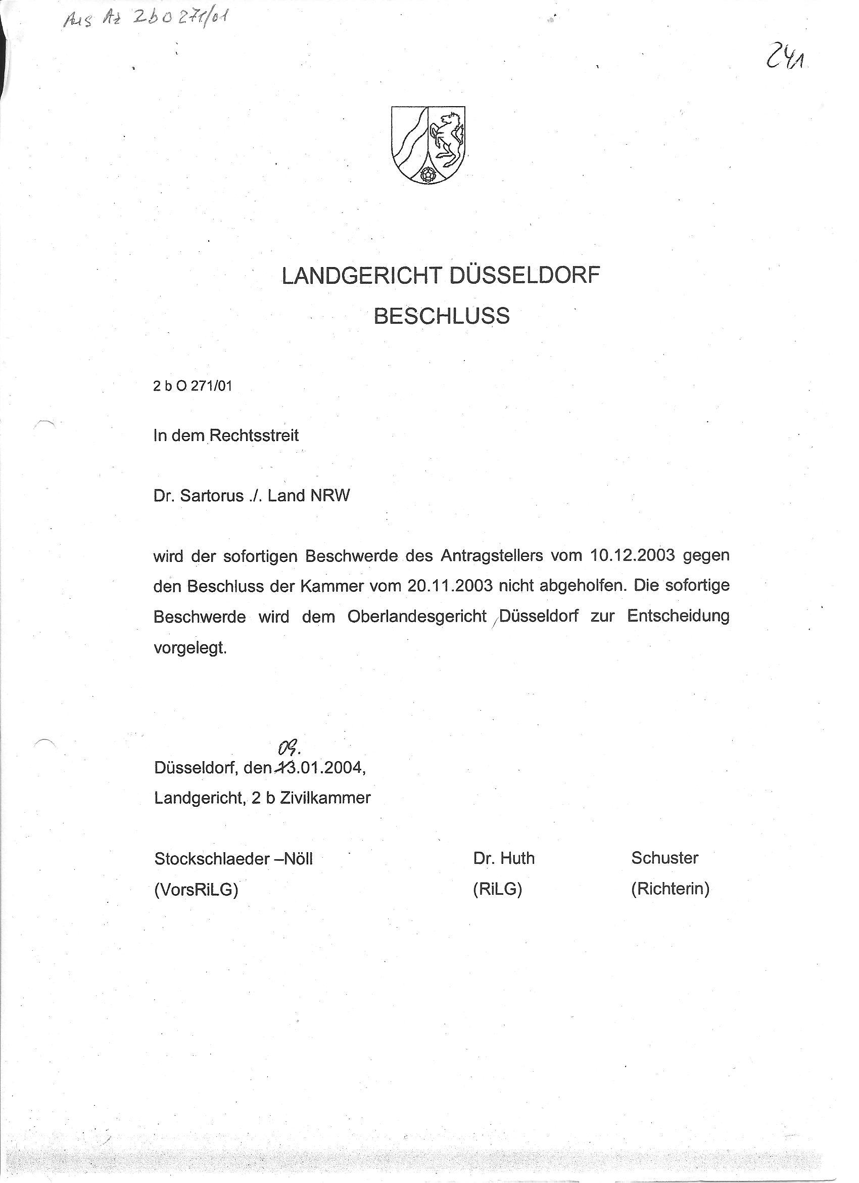 Manipulationen Der Gerichtsakten Lg Az 2b O 271 01 Dr Ing Th Sartoros